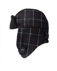 Paul Smith Checked Trapper Hat Black