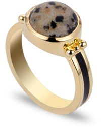 Coco & Kinney Dalmatian Scarley Ring In Gold - Black