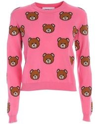Moschino All Over Bear Sweater - Red