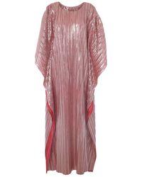 Lisou Giselle Pink Metallic Plisse Kaftan Maxi Dress - Multicolour
