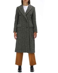 Jucca Double Breasted Long Coat - Black