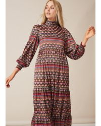 PHOEBE GRACE Betty Dress Midaxi With Puffed Long Sleeve And High Neck In Stripe - Multicolour