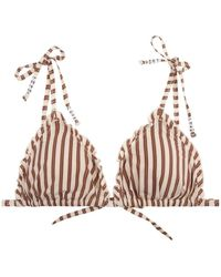 Love Stories Reggipetto Bikini Top | Stripes | - Brown
