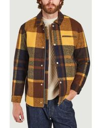 Wax London Hybrid Bomber Jacket In Wool Check - Yellow