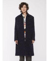 Paul Smith Boucle Tweed Epsom Coat - Blue
