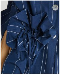 Erika Cavallini Semi Couture - Pinstriped Mandarin Collar Jacket In Blue Navy - Lyst