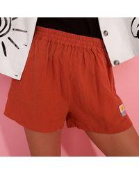 L.F.Markey L.f. Markey Basic Terracotta Linen Shorts - Orange