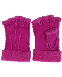 Maison Fabre Larzac Sheepskin Leather Mittens Gloves - Pink