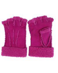Maison Fabre Larzac Sheepskin Leather Mittens Gloves - Pink