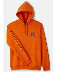 Brixton Cresh Hooded Sweat - Carrot Orange - Red