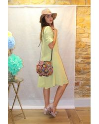 120% Lino Button Up Dress In Acacia - Yellow