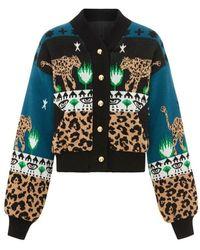 Hayley Menzies Leopardess Cotton-merino Bomber Jacket In Navy Xs - Blue
