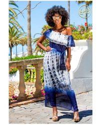 LINDSEY BROWN Strapless One Shoulder Designer Maxi Dress Mustique - Blue