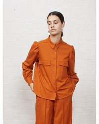 ALIGNE Ellis Long Sleeve Shirt , - Red