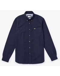 Lacoste Long Sleeve Oxford Shirt Ch 4976 Dark Navy - Blue