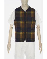 Universal Works - Plaid Fleece Zip Gilet In Navy & Yellow - Lyst