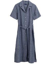 GANT Ladies Linen Chambray Shirt Dress - Blue
