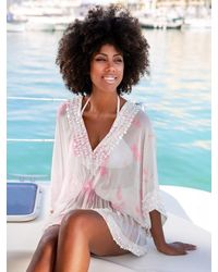 LINDSEY BROWN Pink And Floaty Designer Kaftan Top Capri - White