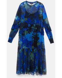 Desigual Orleans Midi Dress With Floral Camouflage - Navy - Blue