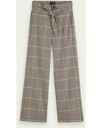 Scotch & Soda Checked Trouser - High Rise And Wide Leg - Multicolour