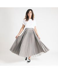 Ottod'Ame Ottod'ame Sparkly Pleated Silver Midi Skirt - Multicolor