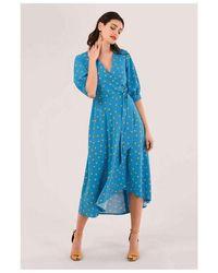 Closet Blue Polka Dot Puff Sleeve Midi Dress