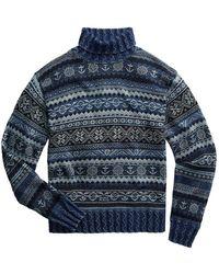 Ralph Lauren Rrl By Mock Neck Fair Isle Knit Blue Indigo