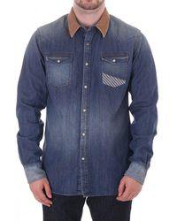 Scotch & Soda Scotch & Soda Mens Denim Ls Shirt With Cord Coll S - Blue