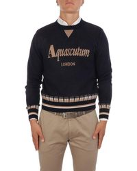 Aquascutum Men's Knitwear Qmcswe1l0qm007 11 - Blue