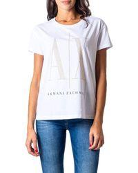 Armani Exchange - Women's 8nytdxyjg3z9130 White Cotton T-shirt - Lyst