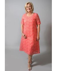 Out Of Xile - Leaf Embroidery Dress Tangerine - Lyst