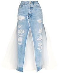 Unravel Project Uwyf026s20den0014001 Cotton Skirt - Blue