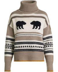 Parajumpers Koda Beige White Turtleneck Sweater - Multicolor