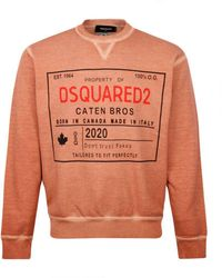 DSquared² Best Fade Caten Bros Crewneck Sweat Rose - Orange
