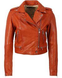 Oakwood Kyoto Leather Biker Jacket Colour: Orange