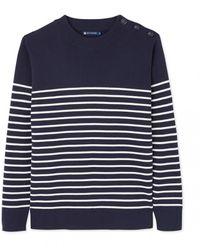 Petit Bateau Men's Cotton Knit Stripe Mariniere - Blue
