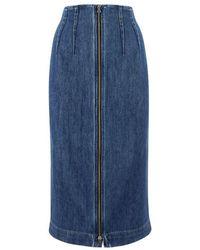 Sportmax Women's Doppia002 Blue Cotton Skirt