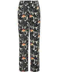 POM Amsterdam Roses Trousers Midnight - Blue