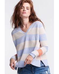 Lisa Todd Stripe Hype Lite Sweater - Foam - Blue