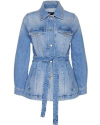 7 For All Mankind Long Jacket In Denim - Blue