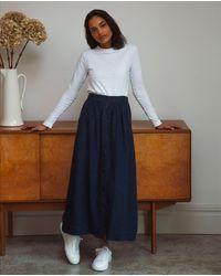 Beaumont Organic Ursa Linen Skirt In Navy - Blue