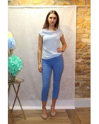 120% Lino Slim Fit Linen Trouser In Blue Lapis