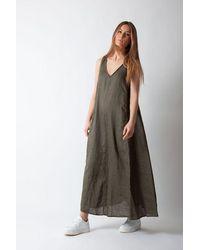 Ottod'Ame Abito Sleeveless Dress In Khaki - Green