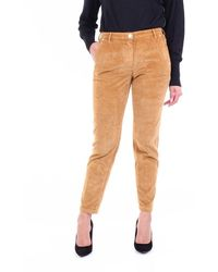 Jacob Cohen Marina Model Chino Trousers In Curry Colour With Ribbed Texture - Yellow