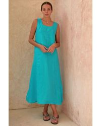 Aspiga Becky Premium Linen Midi Dress | Turquoise - Green