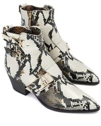Baldinini Snake Printed Leather Ankle Boots - White
