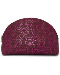 Hill & Friends Large Happy Embossed Cosmetics Bag - Pink