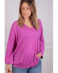 Riani V Neck Sweater In Orchid - Purple
