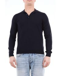 Drumohr Solid Colour Polo Shirt With Long Sleeves - Blue