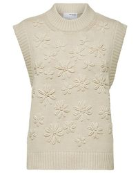 SELECTED Knitted Vest With Flower Embellishment - Natural